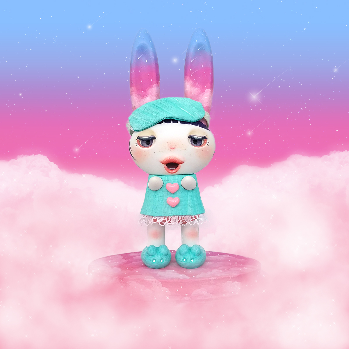 Hi Friends I Would Like To Share With You All My Latest Custom Vinyl Toy Lullabye Luna She Was Created From Peter Katos Super Cute 6 Inch Bedtime
